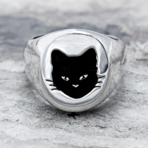 Anello Sigillo Gatto Nero Argento