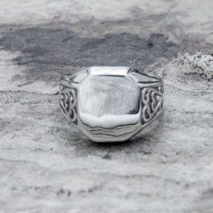 Anello Sigillo Ottagonale Piccolo Argento