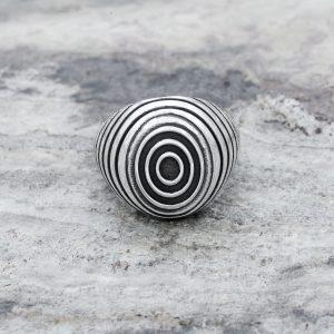 Anello Sigillo Ovale Concentrico Argento