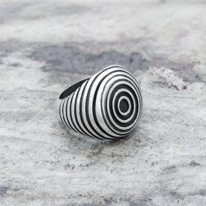 Anello Sigillo Ovale Concentrico Argento 2