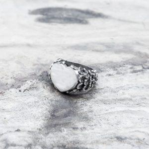Anello Cuore Decorato Argento